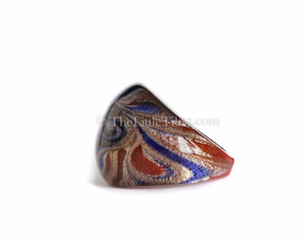 Glass Ring :  Individually blown glass ring with intricate design R16