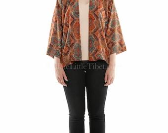 Timono (Tibetan + Kimono) jacket- Aztec pattern , Free size (UK Free Shipping)