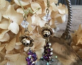 February's Rose: Purple Glass and Rose Crystal Vintage Assemblage Earrings Repurposed Jewelry