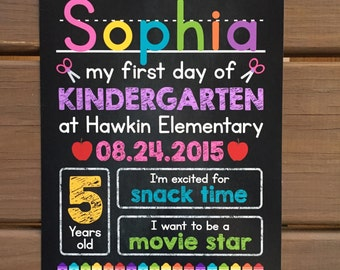 FIRST DAY of School Sign, Chalkboard Back to School Sign, Preschool, Kindergarten, Girl, Printable