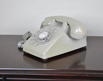 Beautiful Slate Gray 1960s Rotary Telephone