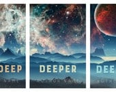 Premade eBook Cover Design – Sci-Fi Moonscape Stars & Sky Celestial Series x 3