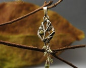 A Dab of Spring - Organic woodland pendant, handmade fine silver necklace with peridots, eco friendly jewellery, elven jewelry