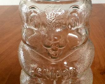Skippy Peanut Butter Chipmunk Jar Coin Bank / 1990 Special Edition Jar / 100th Birthday of Peanut Butter / Collectible Glass Jar