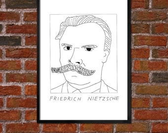 Badly Drawn Friedrich Nietzsche - Literary Poster - *** BUY 4, GET A 5th FREE***