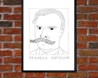 Badly Drawn Friedrich Nietzsche - Literary Poster