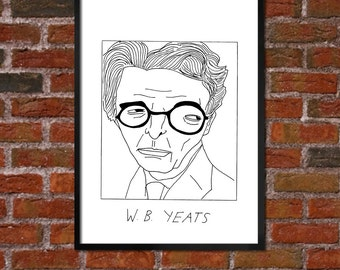 Badly Drawn W.B. Yeats - Literary Poster - *** BUY 4, GET A 5th FREE***