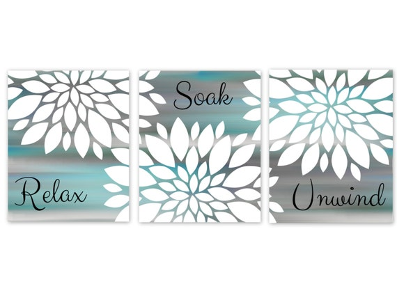Bathroom Wall Art Aqua Grey Bathroom Art Printable Digital