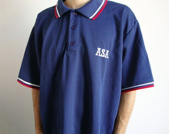 EXTRA BIG POLO -90s, navy, asa, softball, oversized, longline, sad boys, sportswear, health goth, hip hop, trap, blue, tshirt, tee-