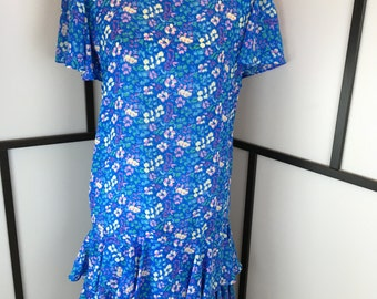 Blue Floral Dress, Vintage Women's Dress, Drop Waist, Summer Dress, Alison Peters, Size Medium or Large