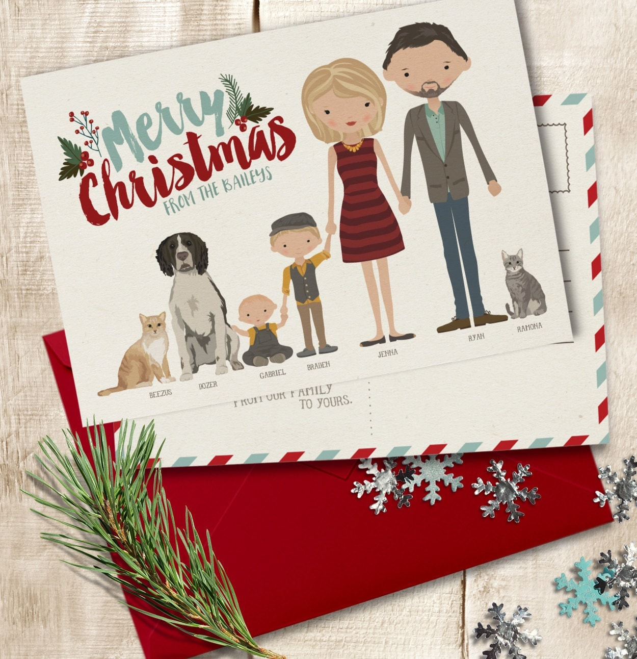 Christmas Card ADD-ON Personalized Holiday Card Custom