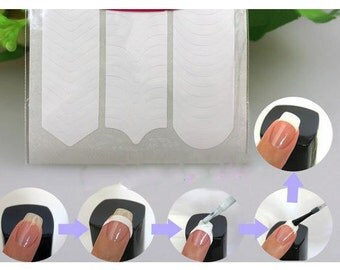 French Nail Tip Stickers, DIY Nail Art, 3D Nail Design, nail guide stickers, french tip guild stickers