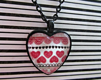 Red Heart Necklace, Valentine Necklace, Black Heart Necklace, Valentine Pendant, Glass Tile Pendant, Valentine Jewelry,Valentines Day,Gifts