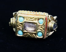 22 kt Antique Indian Sliced Diamond and Turquoise Ring