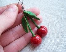 Red Cherry Earrings handmade vintage Cherries Fruit polymer clay Dangling Cherries for women Dangle Earrings gift idea bright jewelry
