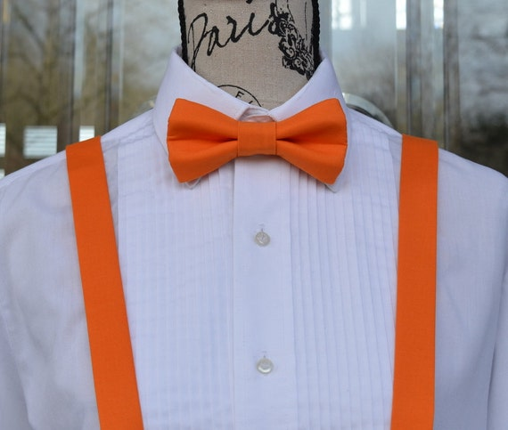 orange bow tie amp suspender 80b wedding grooms by leviandlily