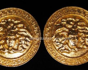 24k Gold glided Medusa earrings (Pierced)