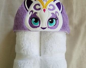 Genie's Cat Kids Hooded Towel,Personalized Hooded Towel,Girls Hooded Towel,Personalized Hooded Towel,Hooded Bath Towel,Kids Birthday Gift