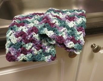 Crochet Dish Cloth Set in Purple and Green