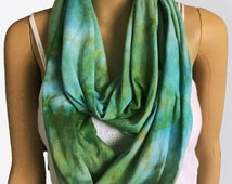 Infinity Scarf-Cotton Jersey Scarf-Tie Dye Scarf-Baby Blue and Wasabi OR Pick your two colors
