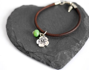 Hibiscus Vegan Bracelet • Silver jewellery, gift for her, hawaii, green, tropical, surf, beach, ocean, Birthday, Valentines girlfriend wife