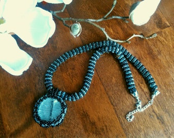 Black and white beaded glass necklace