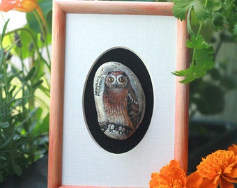 Framed stone with a hand-painted Aeogolius funereus owl; home decor; talisman; bird art; gift; butterfly picture