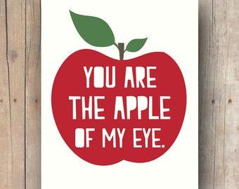nursery wall art printable - nursery art print - baby room decor - kids room wall art quote - apple print - apple of my eye - kids gift