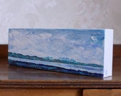 Small landscape painting, from the Mountains to the Sea, New Zealand art, canvas wall art, Cloudscape, free shipping