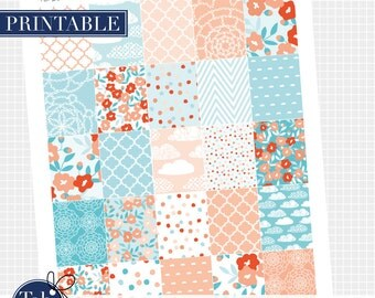 25 MAY floral full boxes. Printable planner stickers for vertical Erin Condren planner.