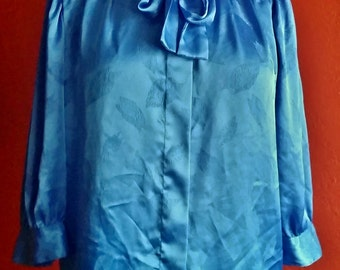 Vintage Marco Pecci Couture Blouse, Blue, Feather Pattern, Small/Medium