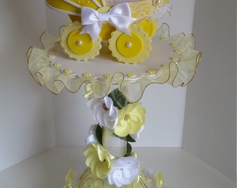 Yellow centerpiece for girls baby shower