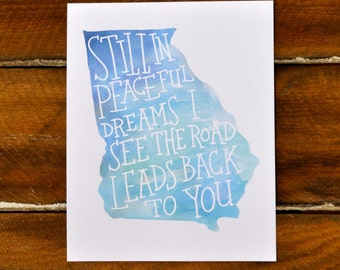 Georgia on My Mind, blue watercolor, hand lettered print, 8x10""