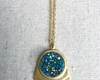 Claudia Necklace - Aurora Green Druzy Chevron Pendant Necklace - Golden Geometric Setting - Multicolor Rainbow Druzy Charm - Custom Length