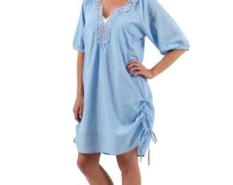 Beach Cover up Resort Dress Cotton Smock – Bella, Blue by Spirituelle