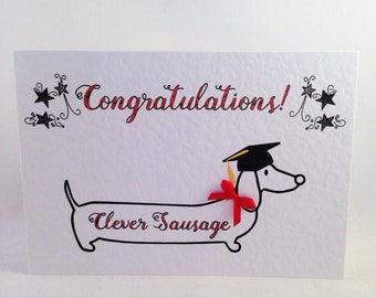 Graduation - Dachshund - Sausage Dog - Congratulations Card