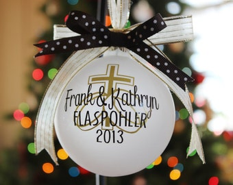 Personalized Wedding/Our First Christmas Ornament in Gold/Brown