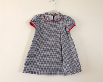 Black and White Gingham Holiday Dress with Red Trim - Size 12-18 months