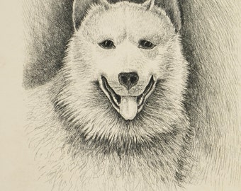 Vintage Husky Dog Lithograph Artwork Art