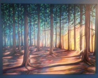 Forest Rays - Original Painting on Canvas