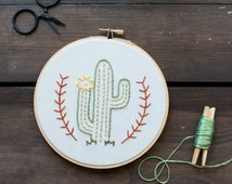 Cactus - Embroidery Hoop Art - Cactus Man Embroidery Art in 6-inch Hoop - Saguaro - Cacti - Desert - Southwestern Decor