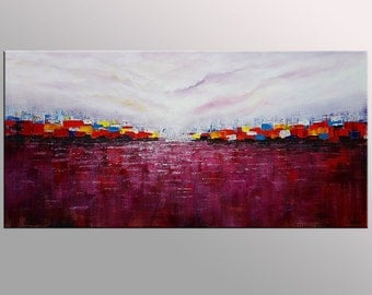Landscape Painting, Abstract Cityscape Painting, Canvas Art, Oil Painting, Wall Art, Abstract Art, Canvas Painting, Abstract Oil Painting