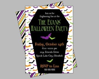 Halloween Party Invitation. Digital, Printable Halloween Invitation. Bats, Vampire, Dracula Party Invitation.