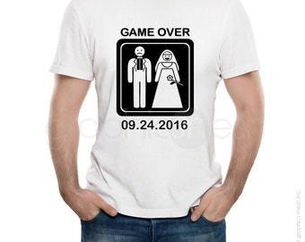 Custom T-shirt GAME OVER for men - Getting Married with Personalized date Tee - Funny wedding shirt