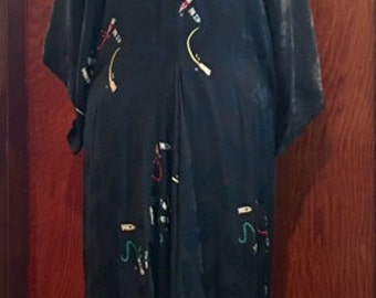 Vintage NICOLE MILLER Silk Caftan Style Flowing Dress Beach Cover Up