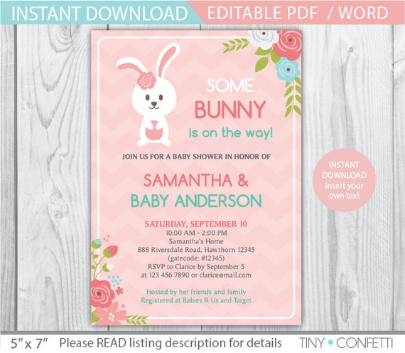 bunny baby shower invitation bunny baby shower easter bunny baby