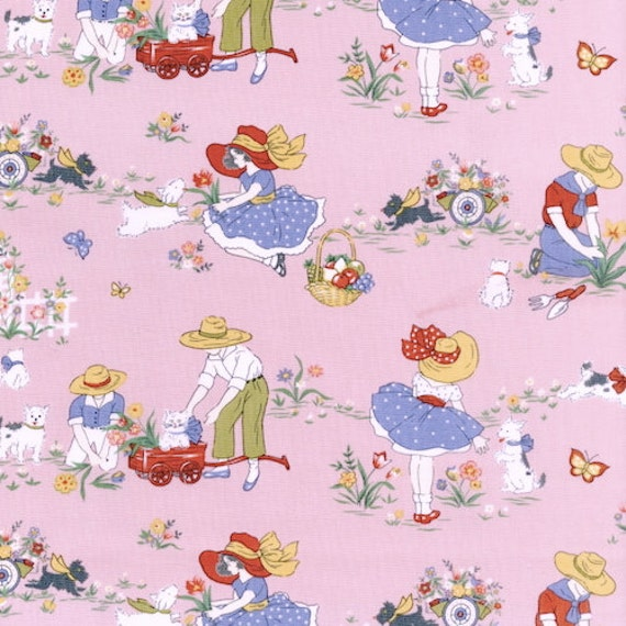 Items similar to young gardeners in pink vintage retro for Vintage childrens fabric prints