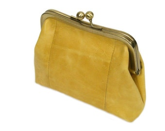 Yellow Purse|Yellow Clutch|Clutch Purse|Leather Purse|Clutches|Leather Clutch|Womens Clutches|Leather Clasp Purse|Clasp-Leather Clasp|Sigal