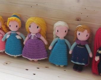 "5.5"" Disney Princess Amigurumi Flat Doll Crochet Doll -  MADE TO ORDER"