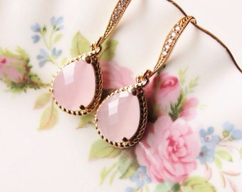 Blush Pink Earrings Pink Bridesmaid Gift Earrings Gold Pink Opal Drop Earrings Spring Wedding Jewelry Bridal Party Gifts Bridesmaid Jewelry